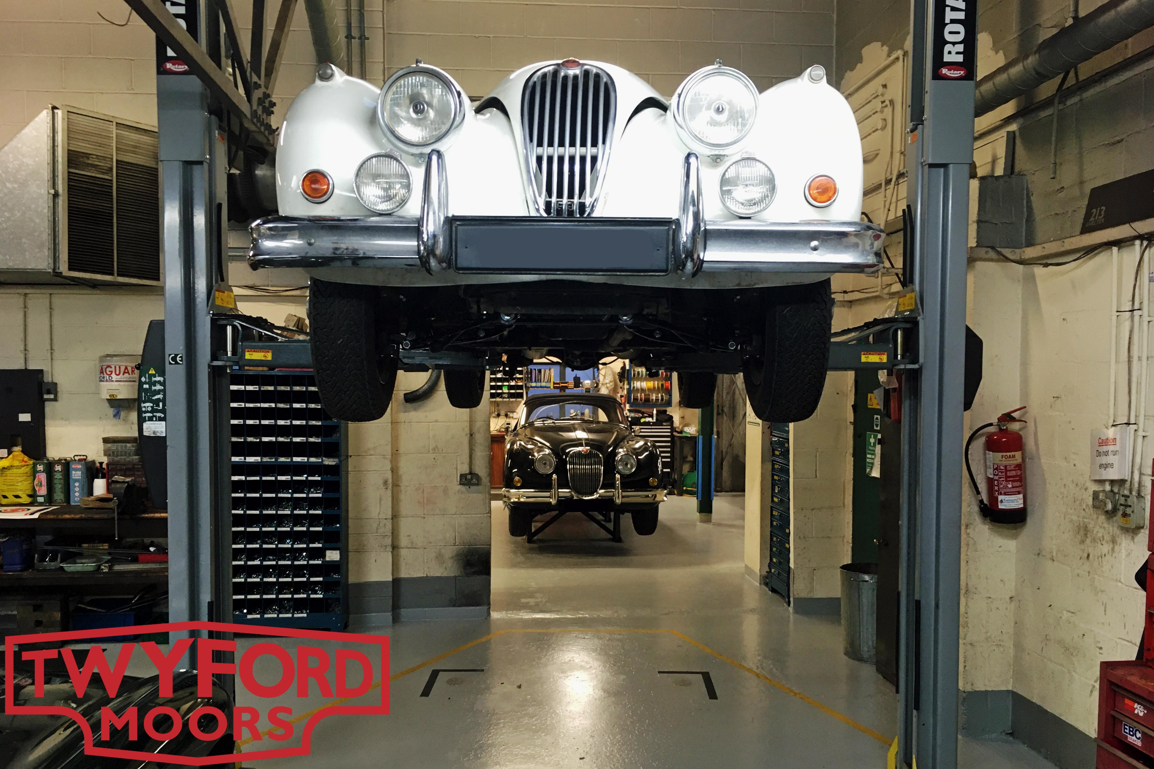 Jaguar XK140 and XK150 in Hampshrie workshop